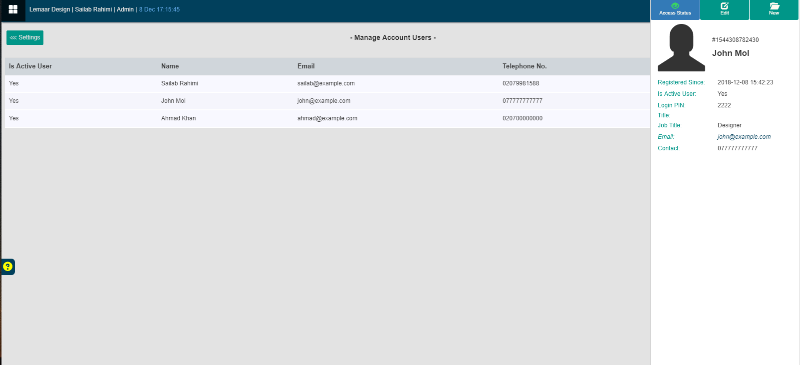 View EPOS Account user details