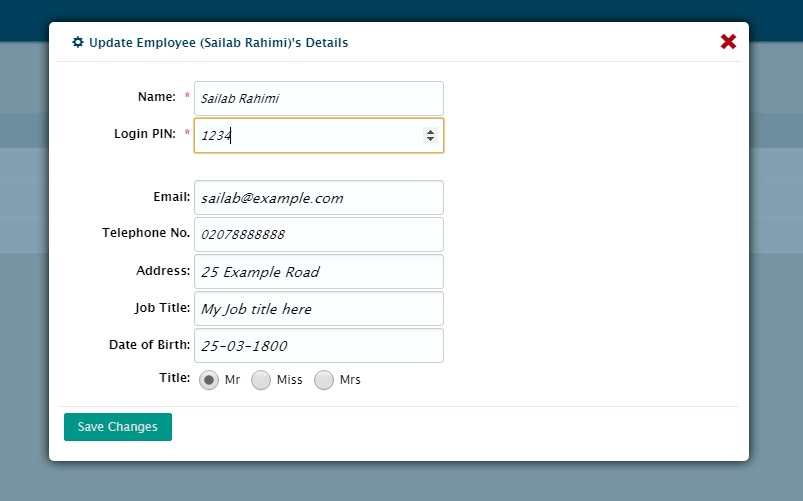 EPOS Update Employee Details Window
