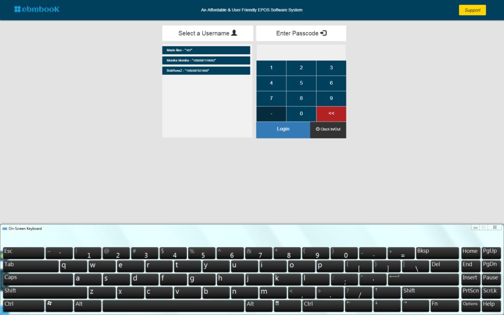 POS On screen keyboard