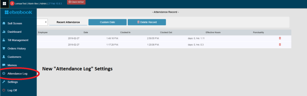 See employees attendance log in EPOS