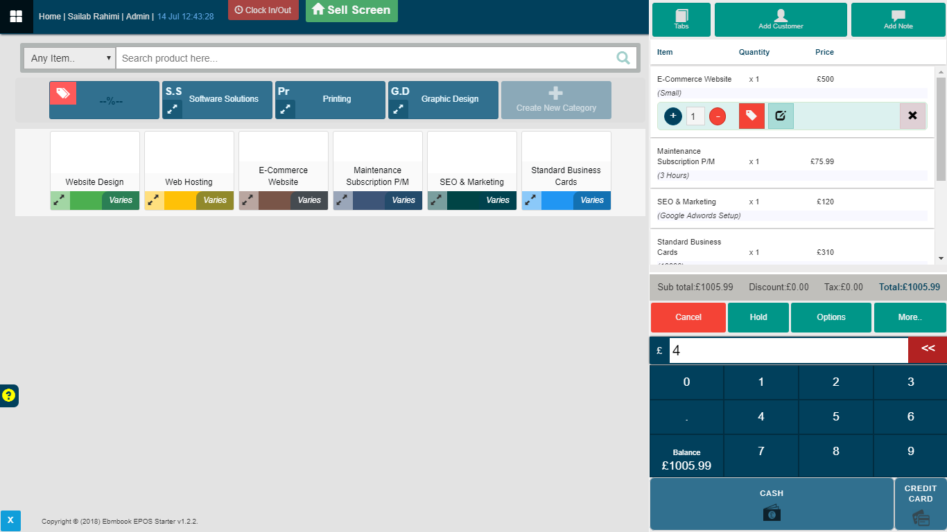EPOS ordering main screen upgraded version 1.2.2