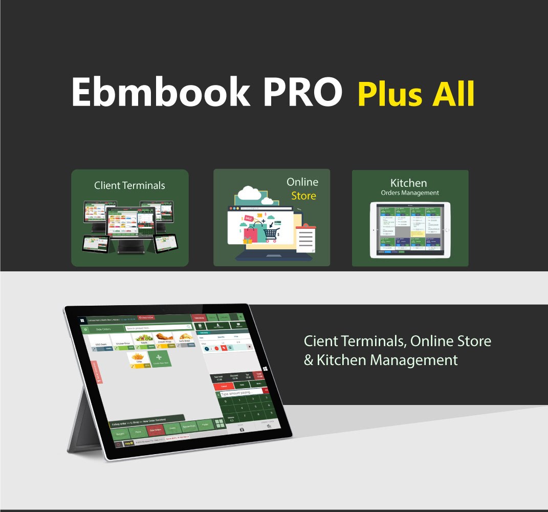 EPOS Software with online store, client terminals and kitchen orders management system